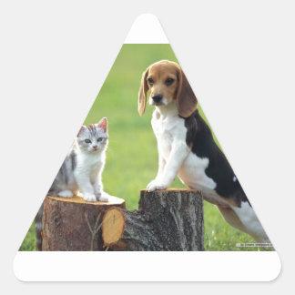 Beagle Dog And Grey Tabby Kitten Triangle Sticker