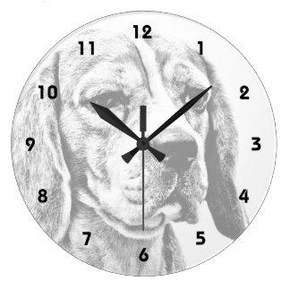 Beagle dog art large clock