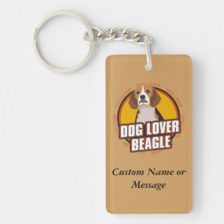 Beagle Dog Breed Lover Custom Name Keychain
