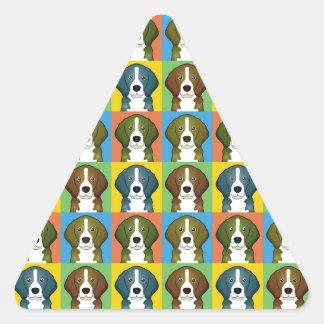 Beagle Dog Cartoon Pop-Art Triangle Sticker