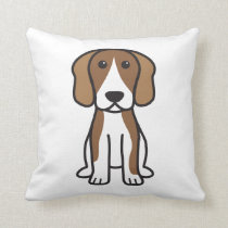 Beagle Dog Cartoon Throw Pillow