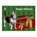 Beagle Dog Christmas Holiday Postcard