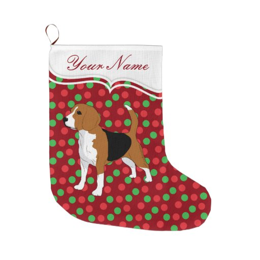Beagle dog christmas red dots personalized large christmas for Personalized dog christmas stocking