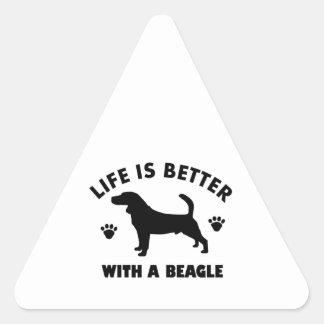 beagle dog design triangle sticker