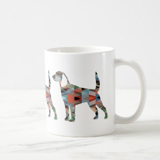 Beagle Dog Geometric Pattern Black Silhouette Coffee Mug