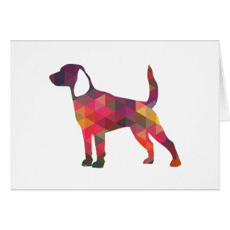 Beagle Dog Geometric Pattern Black Silhouette Greeting Card