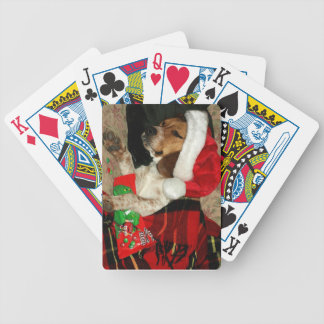 Beagle Dog in Santa Hat -playing cards