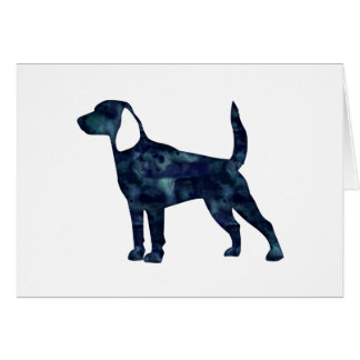 Beagle Dog Watercolor Black Silhouette Greeting Card
