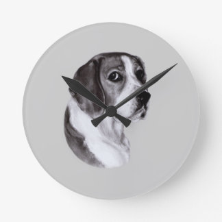 Beagle Drawing Round Clock