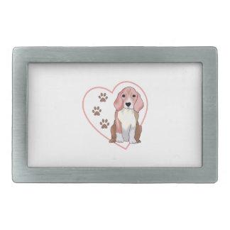 Beagle en corazón hebillas cinturon rectangulares