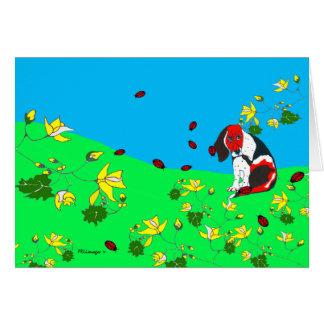 Beagle en la colina tarjeta de felicitación