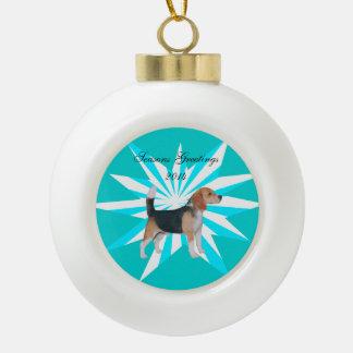 Beagle en molinillo de viento de la turquesa adorno de cerámica en forma de bola