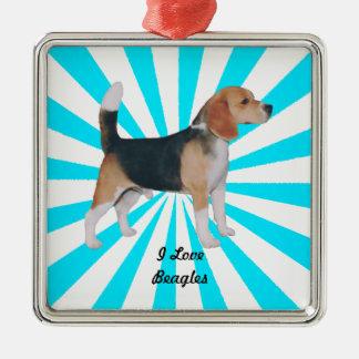 Beagle en molinillo de viento de la turquesa adorno navideño cuadrado de metal