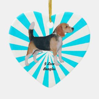 Beagle en molinillo de viento de la turquesa adorno navideño de cerámica en forma de corazón