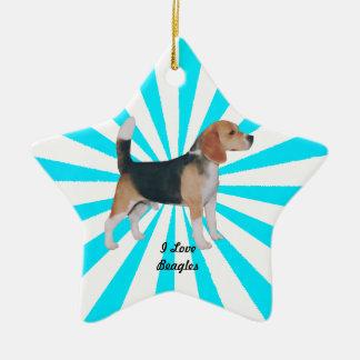 Beagle en molinillo de viento de la turquesa adorno navideño de cerámica en forma de estrella
