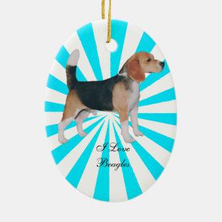 Beagle en molinillo de viento de la turquesa adorno navideño ovalado de cerámica
