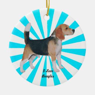 Beagle en molinillo de viento de la turquesa adorno navideño redondo de cerámica