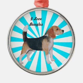 Beagle en molinillo de viento de la turquesa adorno navideño redondo de metal