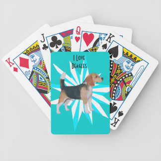 Beagle en molinillo de viento de la turquesa baraja de cartas
