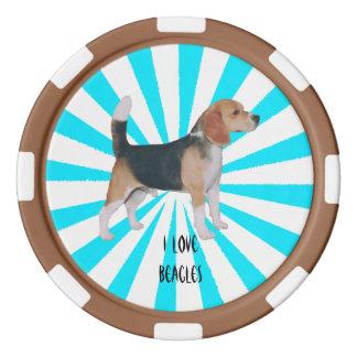 Beagle en molinillo de viento de la turquesa fichas de póquer