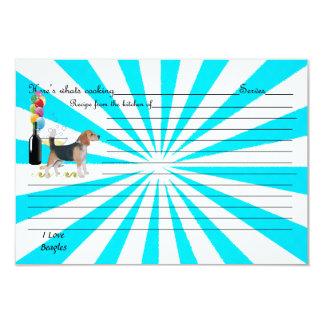 """Beagle en molinillo de viento de la turquesa invitación 3.5"""" x 5"""""""