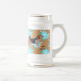 Beagle en molinillo de viento de la turquesa jarra de cerveza