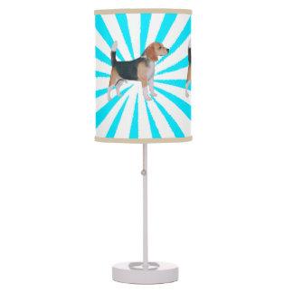 Beagle en molinillo de viento de la turquesa lámpara de escritorio