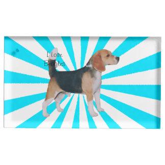 Beagle en molinillo de viento de la turquesa soporte de tarjeta de mesa
