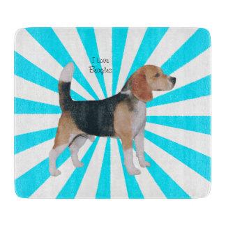 Beagle en molinillo de viento de la turquesa tabla de cortar