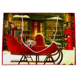 Beagle en un trineo del navidad bolsa de regalo grande