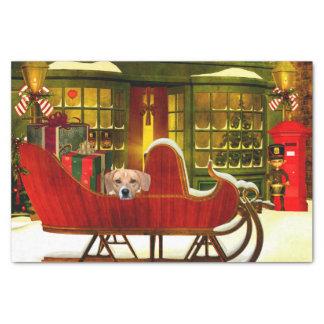 Beagle en un trineo del navidad papel de seda pequeño