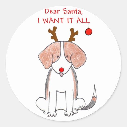 Beagle estimado Santa Etiqueta Redonda