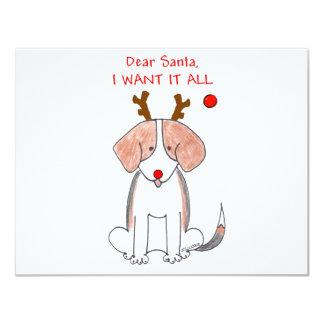 """Beagle estimado Santa Invitación 4.25"""" X 5.5"""""""