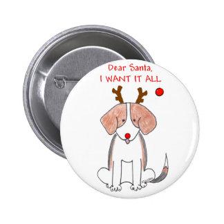 Beagle estimado Santa Pin Redondo De 2 Pulgadas