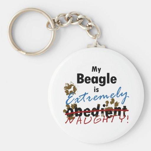 Beagle extremadamente travieso llavero redondo tipo pin