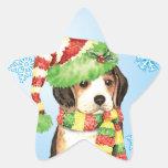 Beagle feliz de Howliday Pegatina En Forma De Estrella