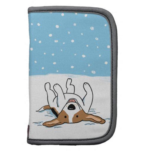Beagle feliz de la nieve del invierno - dibujo ani planificadores