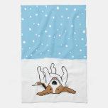 Beagle feliz de la nieve del invierno - dibujo ani toalla