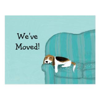 Beagle feliz del sofá con la nueva dirección del tarjetas postales
