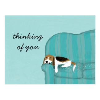Beagle feliz del sofá con la postal de encargo del