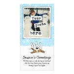 Beagle feliz en la nieve tarjeta fotografica