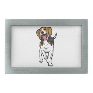 Beagle feliz hebillas de cinturón rectangulares