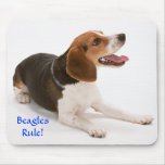 Beagle feliz Mousepad de la regla de los beagles Tapete De Ratón