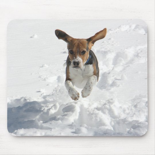 Beagle Flying in the Snow Mouse Pad