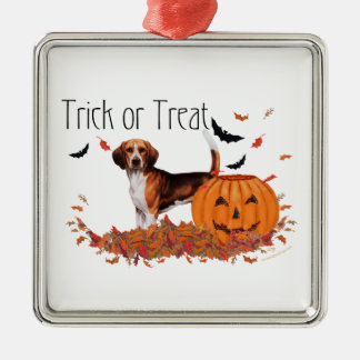 Beagle Halloween Adorno Navideño Cuadrado De Metal
