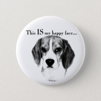 Beagle Happy Face Pinback Button