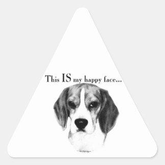 Beagle Happy Face Triangle Sticker