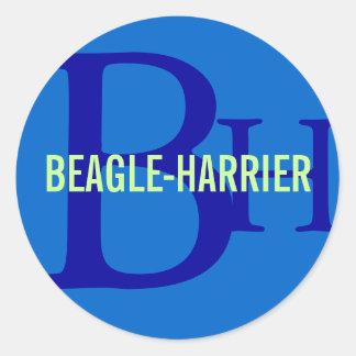 Beagle-Harrier Breed Monogram Design Classic Round Sticker