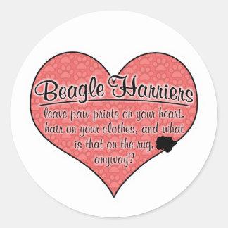 Beagle Harrier Paw Prints Dog Humor Classic Round Sticker