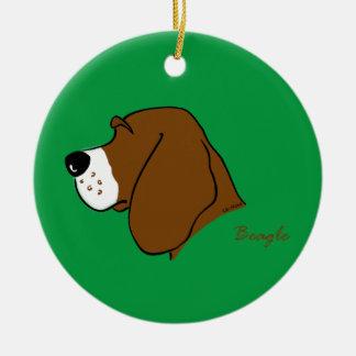 Beagle head silhouette ceramic ornament